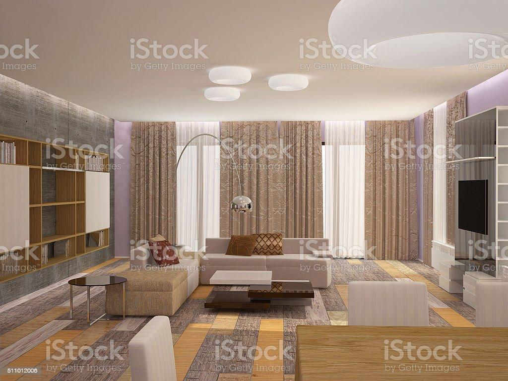 거실 인테리어 디자인의 3d 렌더링 스톡 사진 511012006  iStock