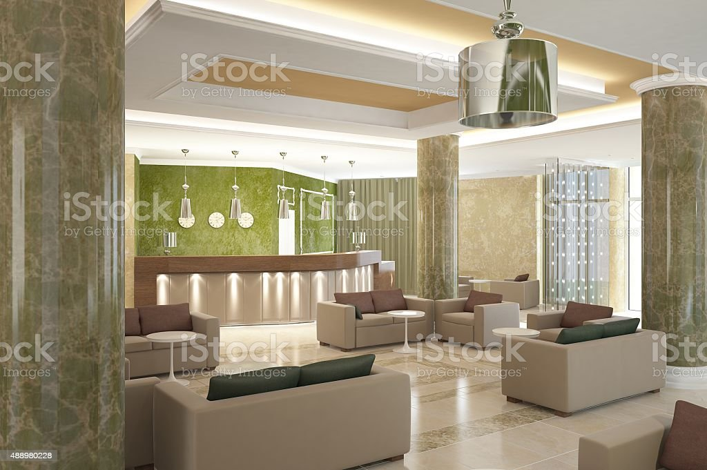 3d rendering of a lobby bar interior design stock photo