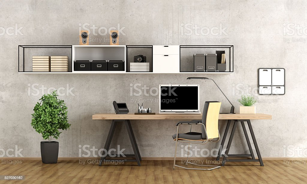 3d rendering of a modern workspace stock photo