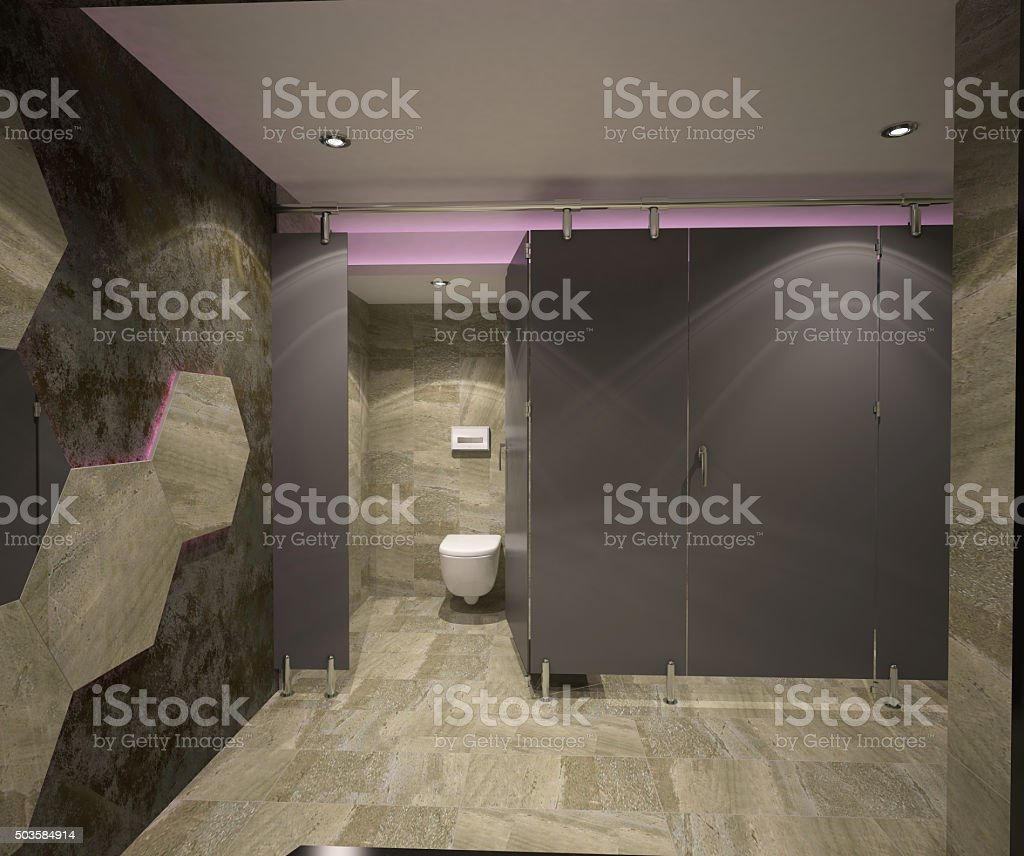 3d rendering of a night club wc interior design stock photo