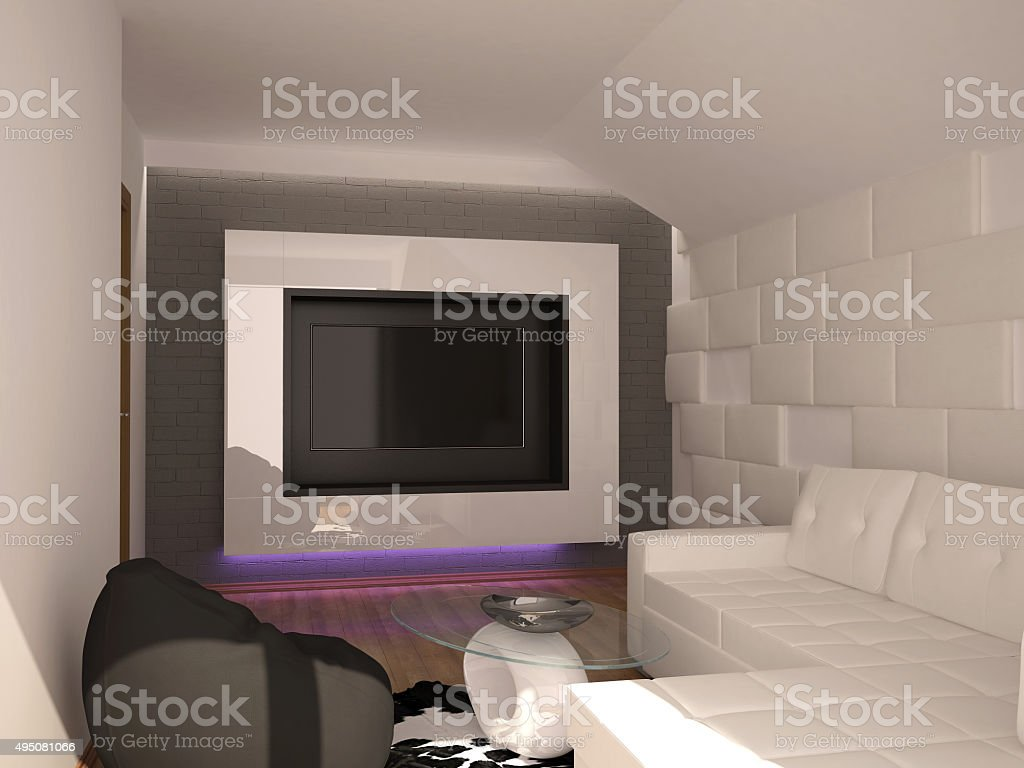 3d rendering of a  private cinema interior design stock photo