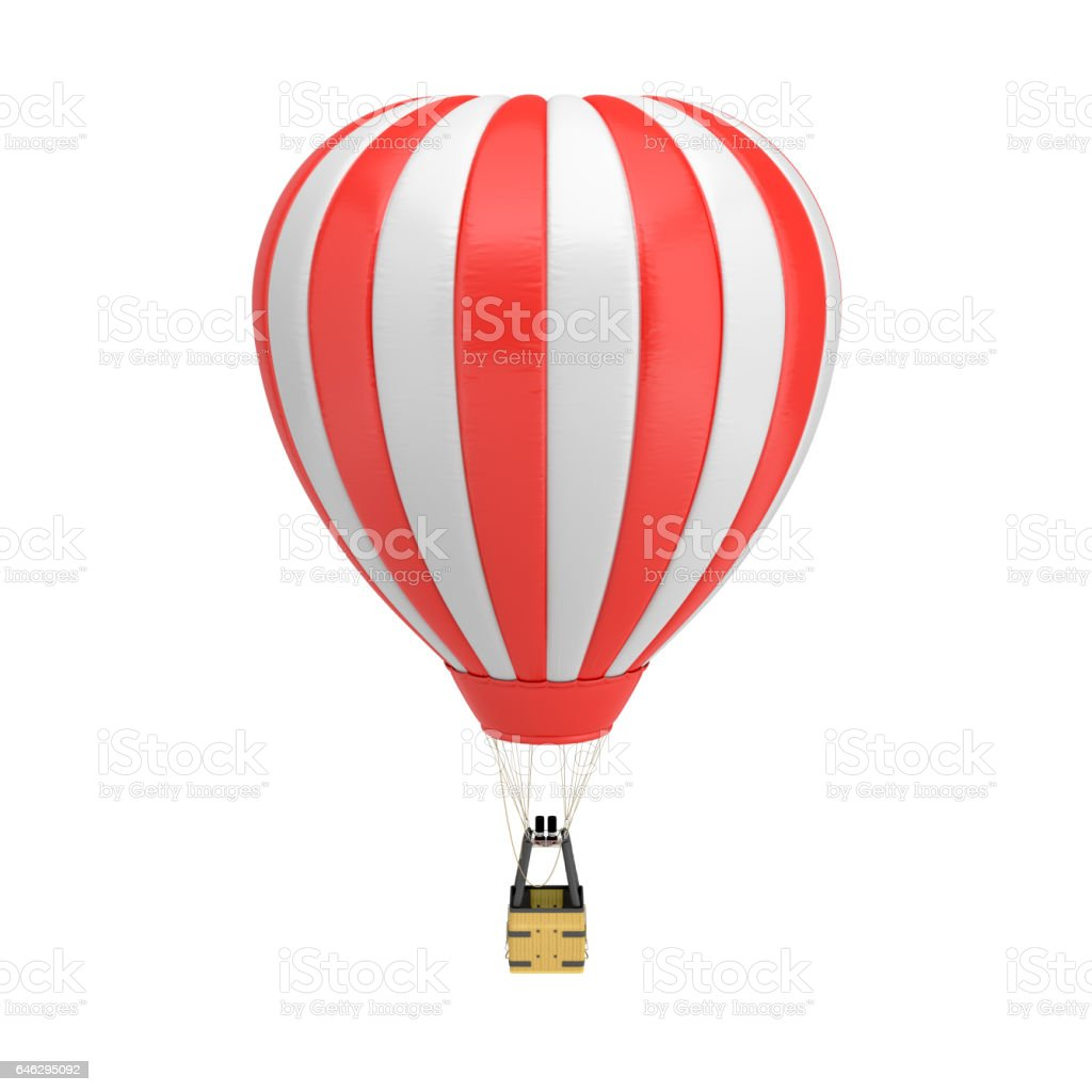 3d rendering of a red and white hot air balloon with a basket on white background stock photo