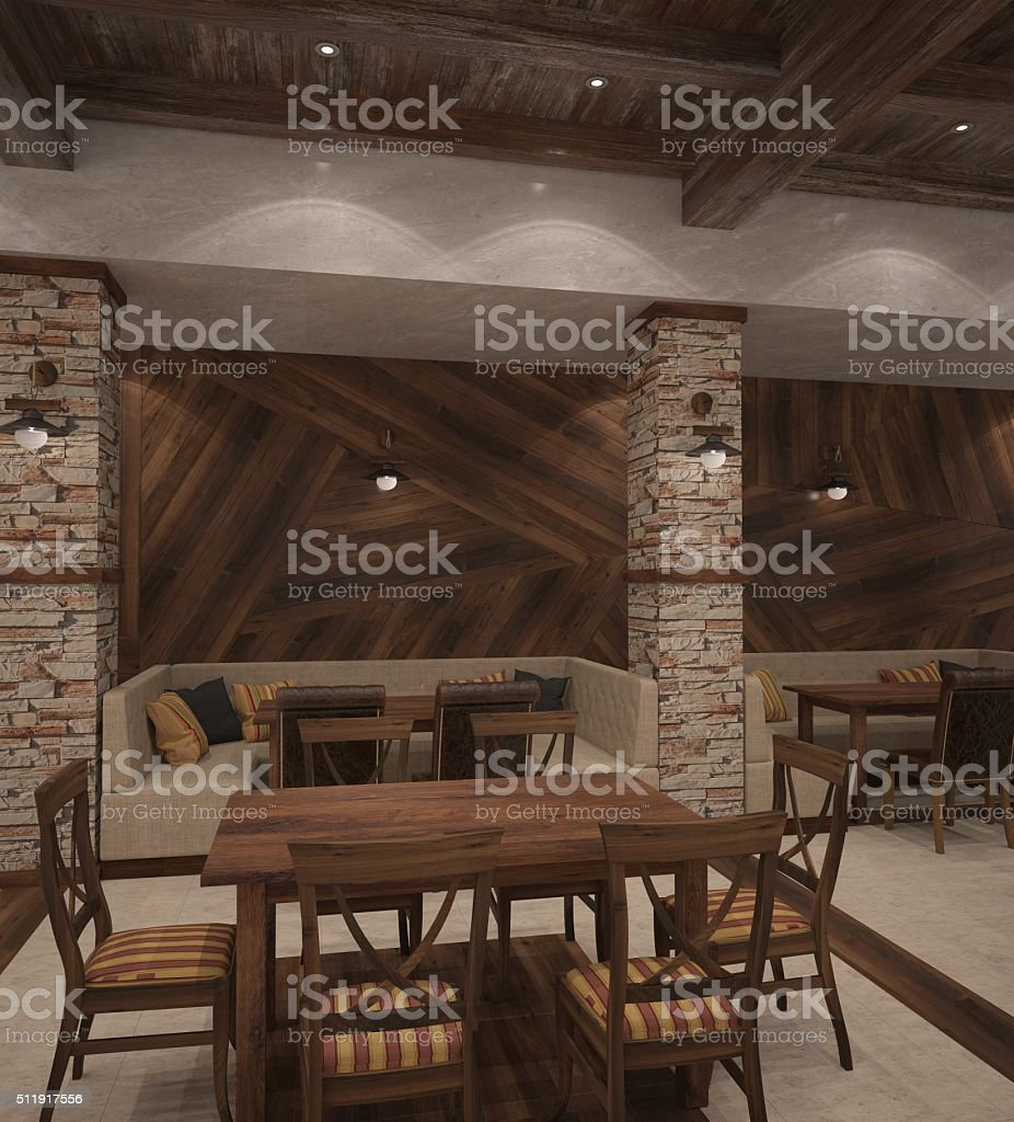 3d rendering of a restaurant interior design stock photo