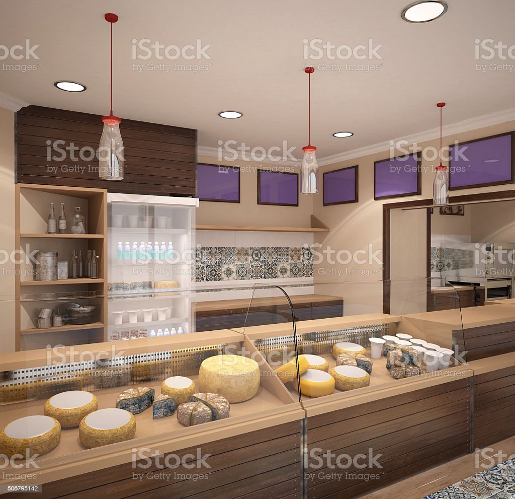 3d rendering of a shop dairy interior design stock photo