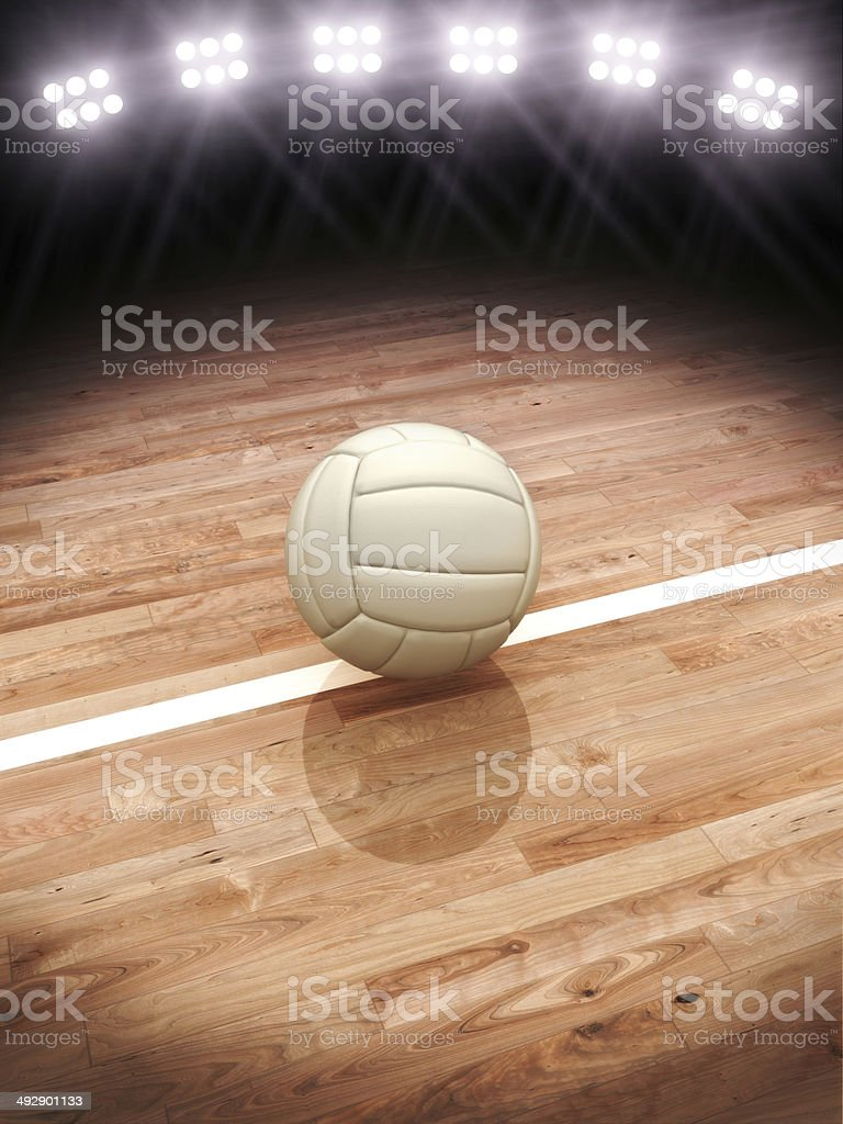 3d rendering of a Volleyball on a court with stock photo