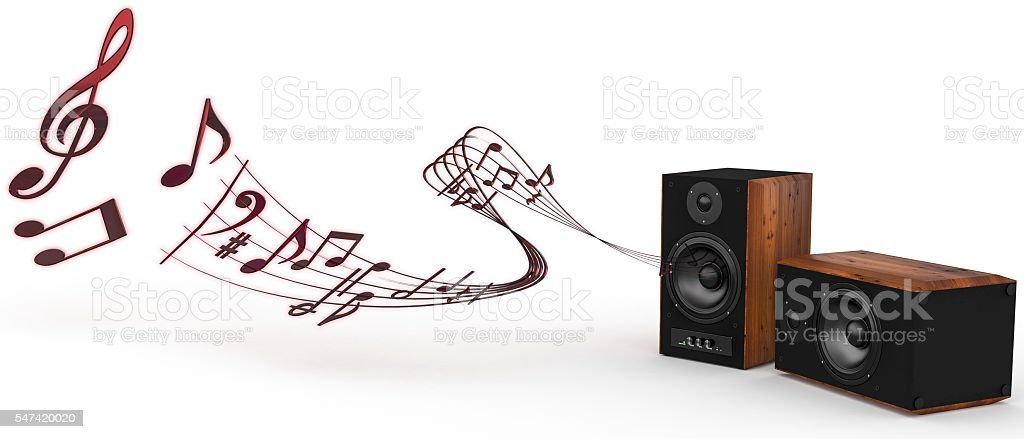 3d rendering of Acoustic wooden  speakers playing music stock photo
