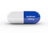 3d rendering of antibiotic pill isolated over white