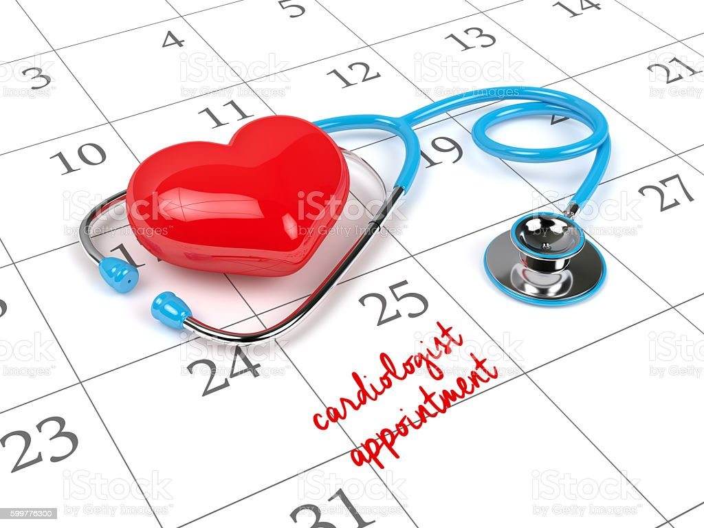 3d rendering of blue stethoscope, calendar and cardiologist appo stock photo