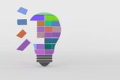 3d rendering of bulb for team work concept