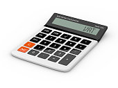 3d rendering of calculator wit vat text isolated over white