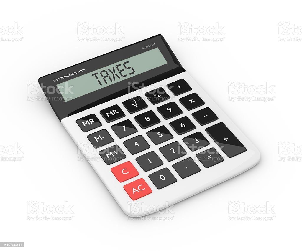3d rendering of calculator with taxes refund text stock photo