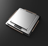 3d rendering of Central Computer Processors CPU with clipping pa