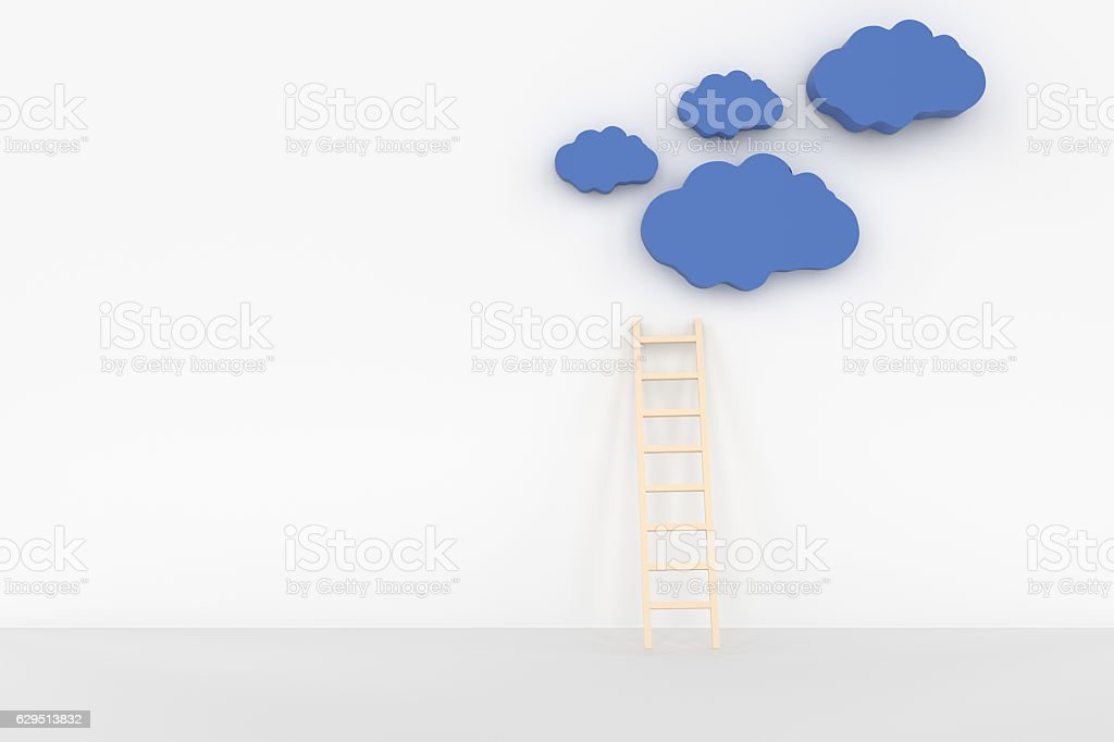 3d rendering of clound and ladder concept stock photo