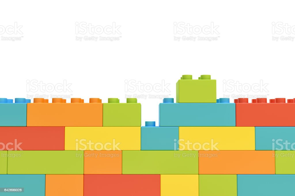 3d rendering of colorful wall made of many toy bricks with one piece staying unused on white background stock photo