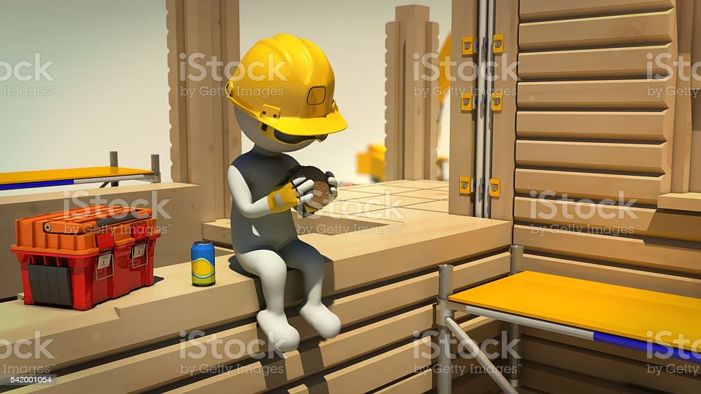 3d rendering of construction worker on meal break stock photo