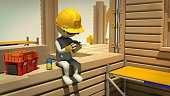 3d rendering of construction worker on meal break