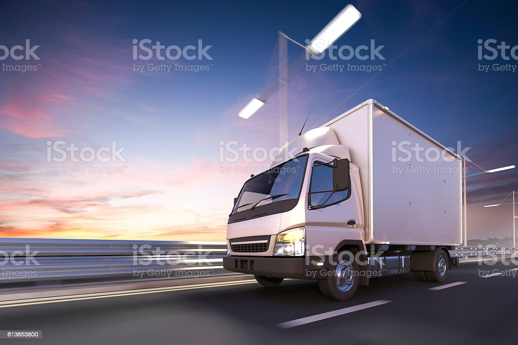 3d rendering of delivery truck on the road at dawn stock photo