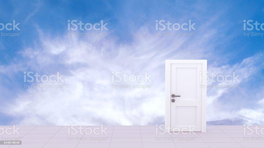 3d Rendering of Door to the heaven stock photo