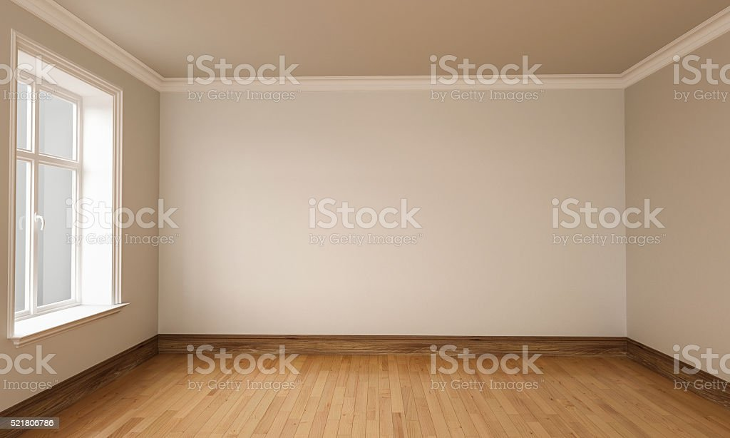 3d rendering of Empty Room Interior White brown Colors stock photo