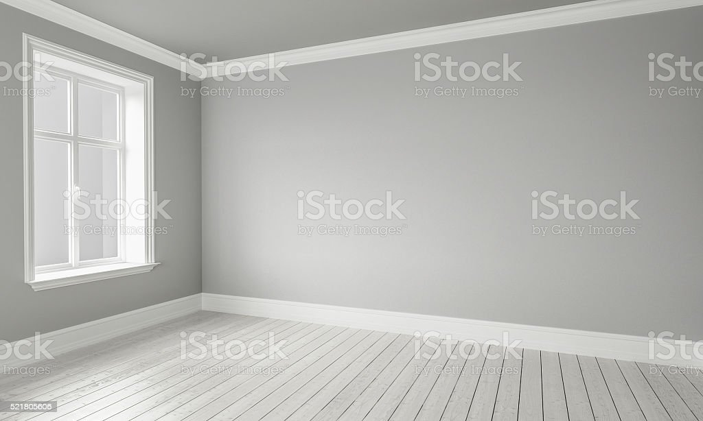 3d rendering of Empty Room Interior White Grey Colors stock photo