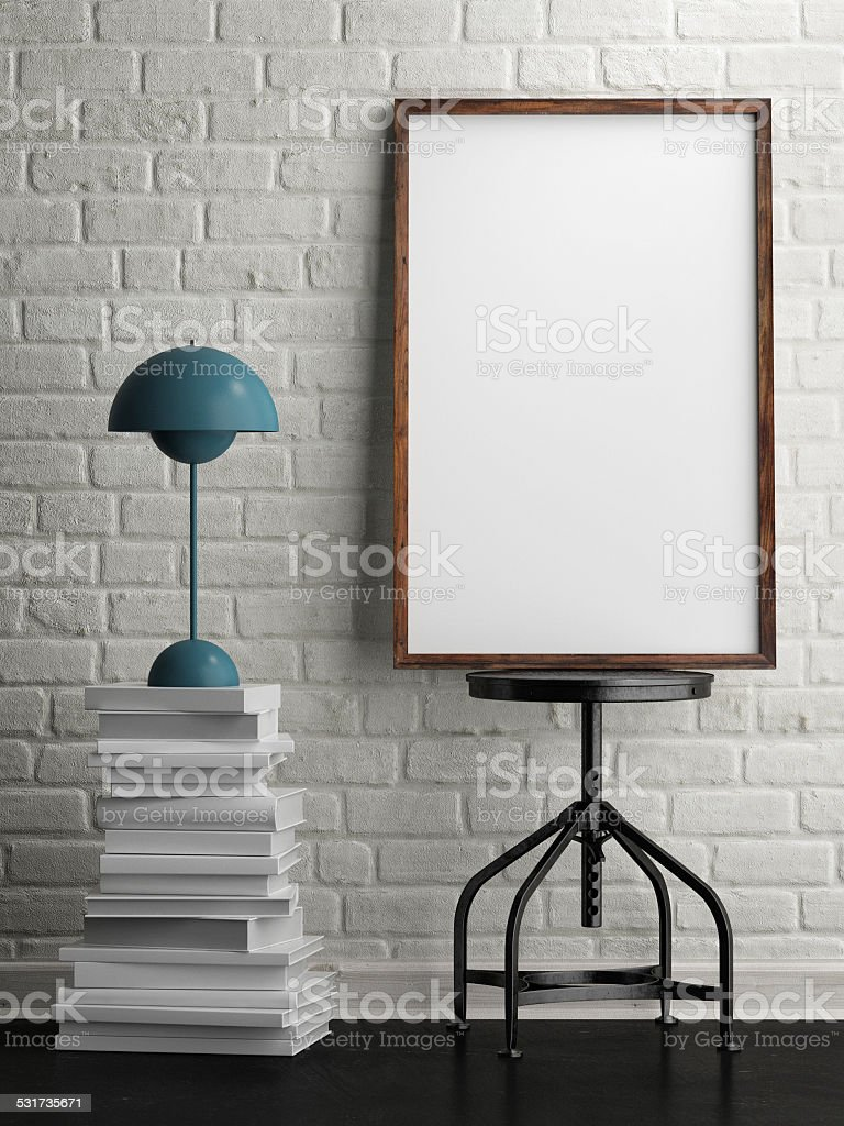 3d rendering of frame on white brick background stock photo