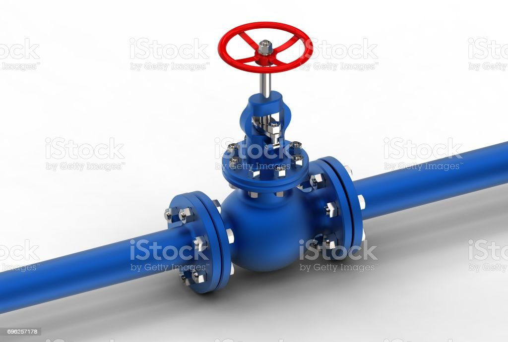 3d rendering of gas valve with pipes stock photo