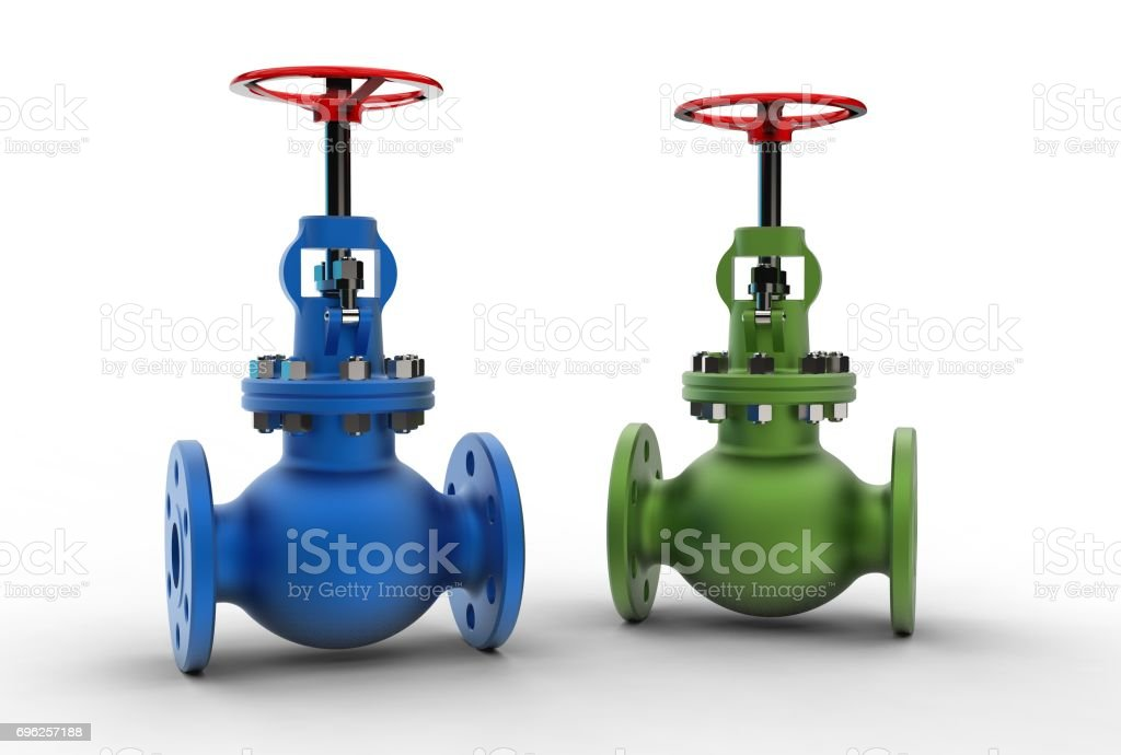 3d rendering of gas valves stock photo