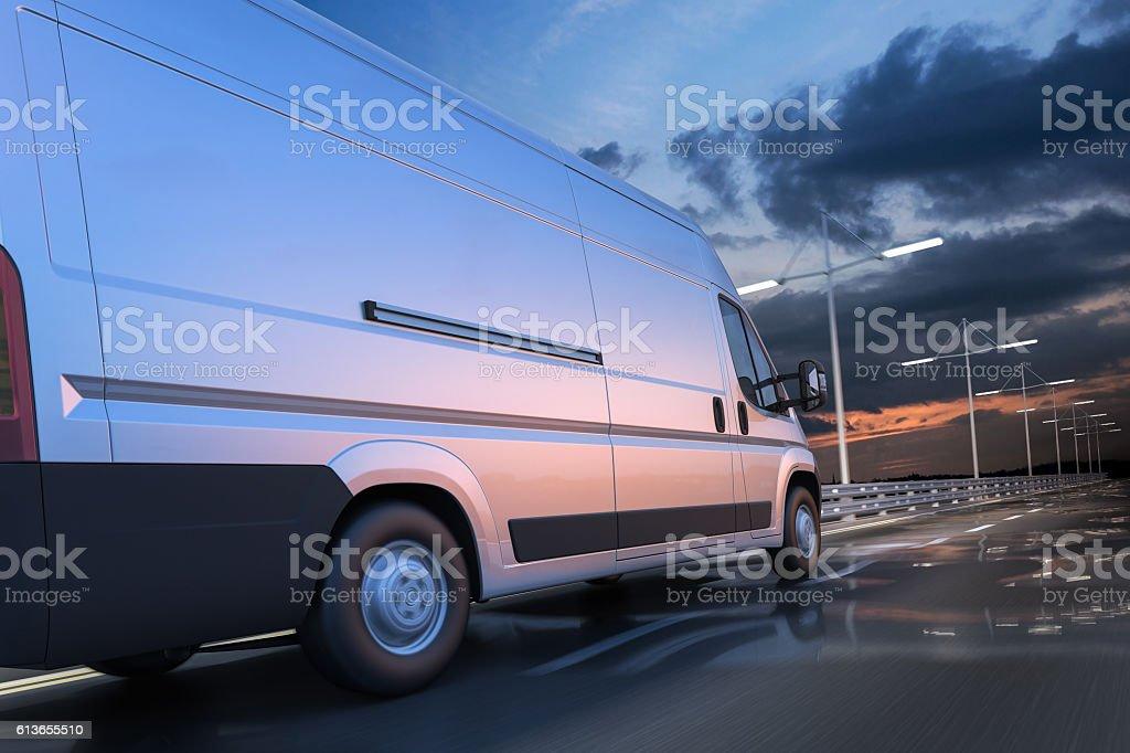 3d rendering of generic van on the road at dawn stock photo