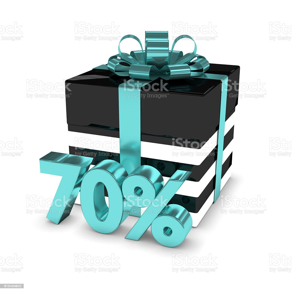 3d rendering of gift box with 70% discount over white stock photo
