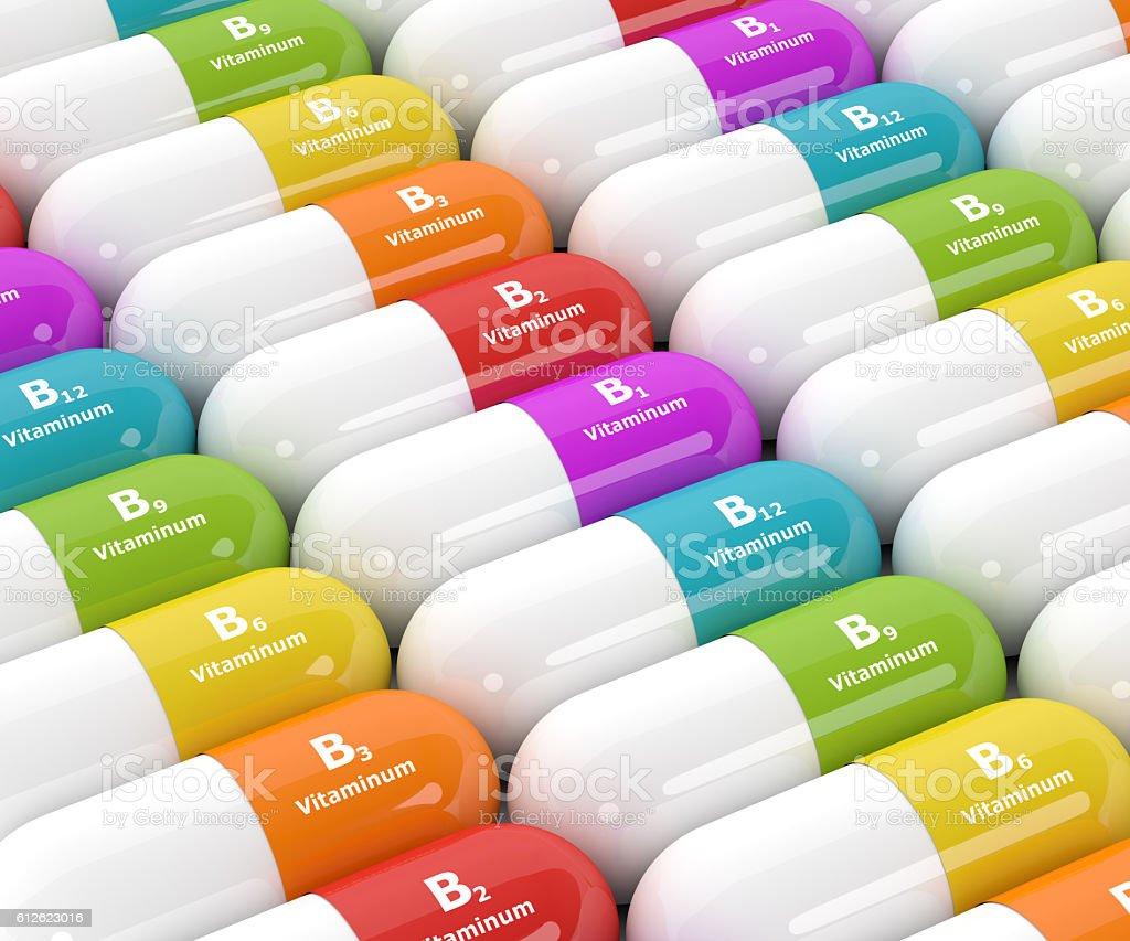 3d rendering of group B vitamin pills stock photo