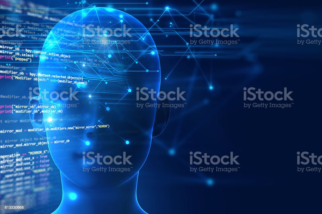 3d rendering of human  brain on programming language background vector art illustration