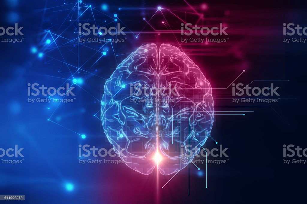 3d rendering of human  brain on technology background vector art illustration