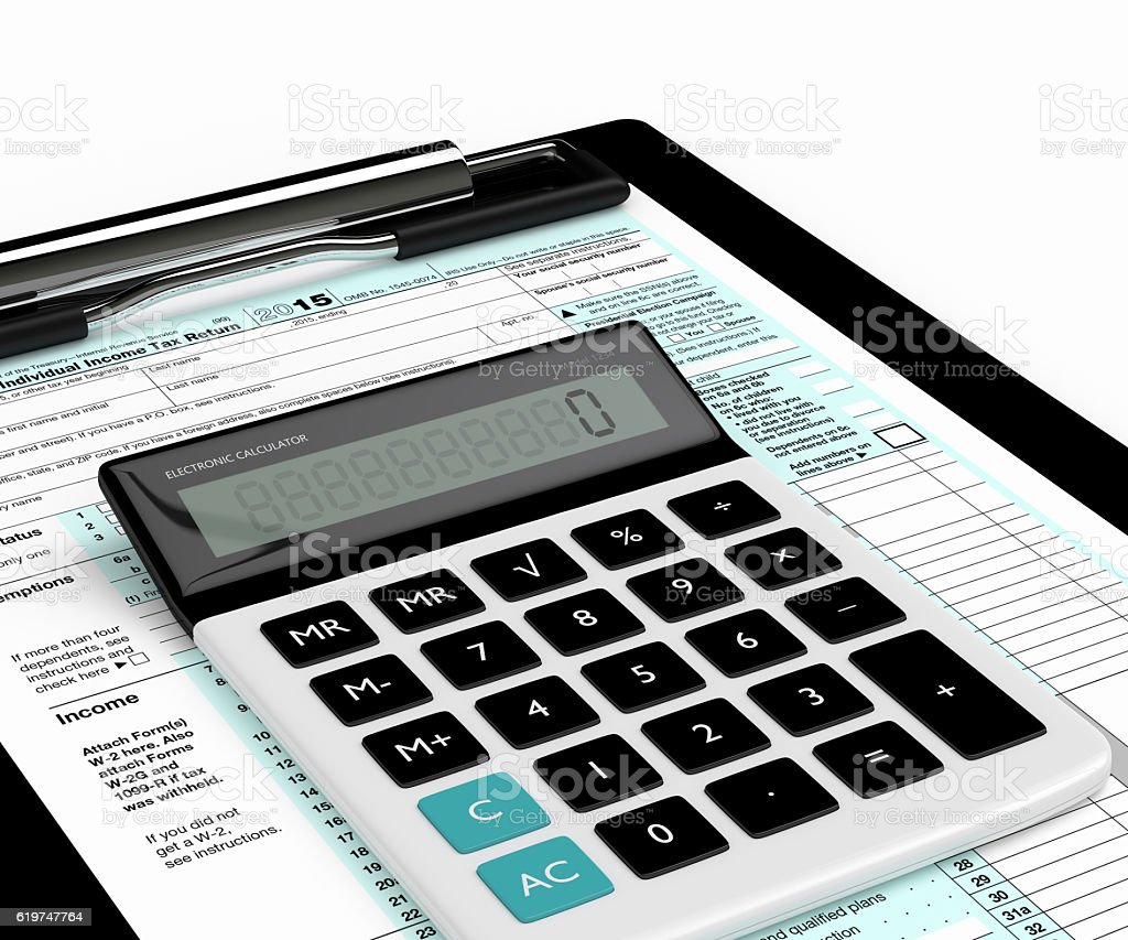 3d rendering of individual income tax return form and calculator stock photo