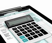 3d rendering of individual income tax return form and calculator