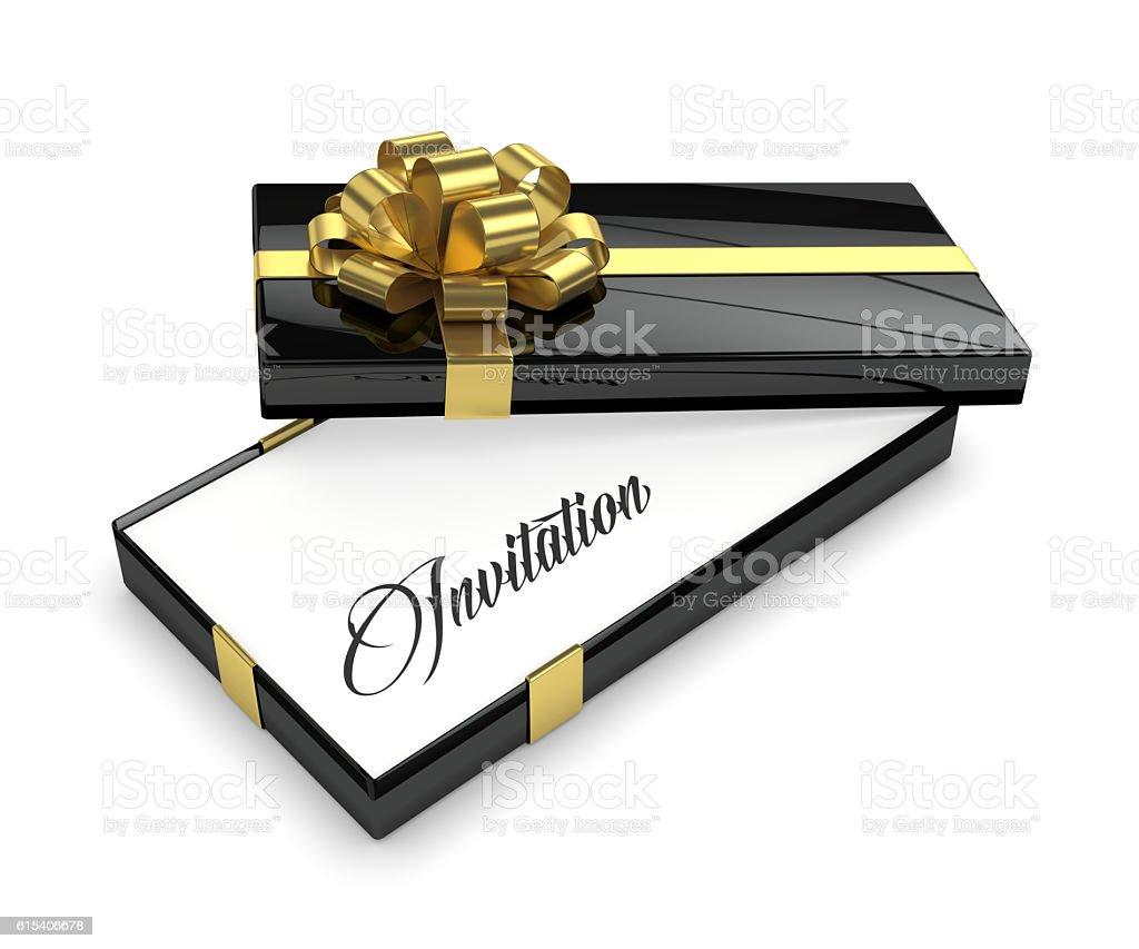 3d rendering of invitation in elegant gift box stock photo