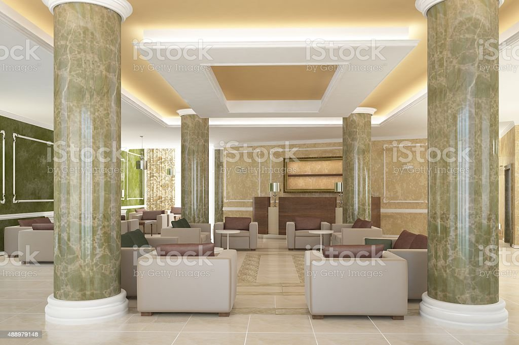 3d rendering of lobby hotel interior design stock photo