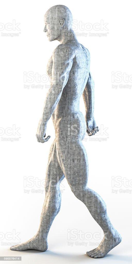 3d rendering of muscular man walking stock photo