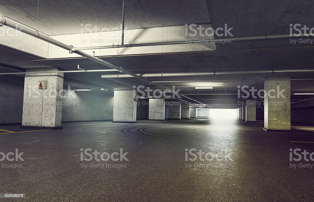 3d rendering of Parking garage underground, industrial interior stock photo