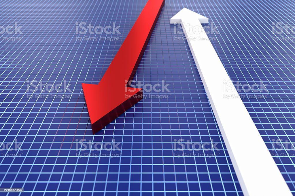 3d rendering of red arrow on blue grid background stock photo