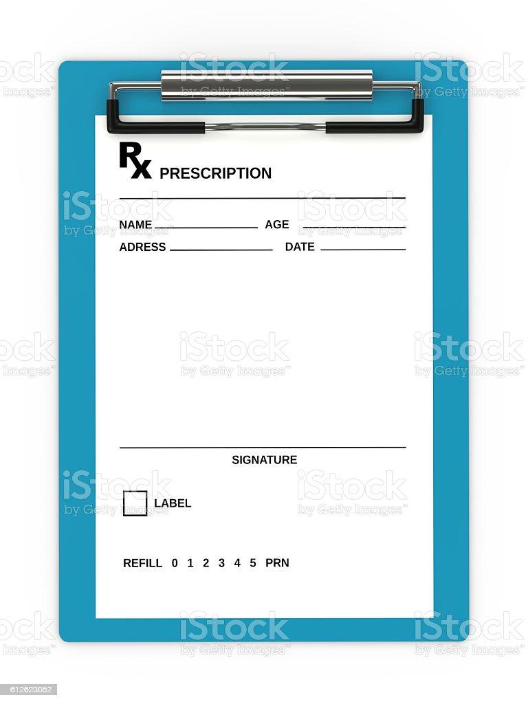 3d rendering of rx prescription over white stock photo