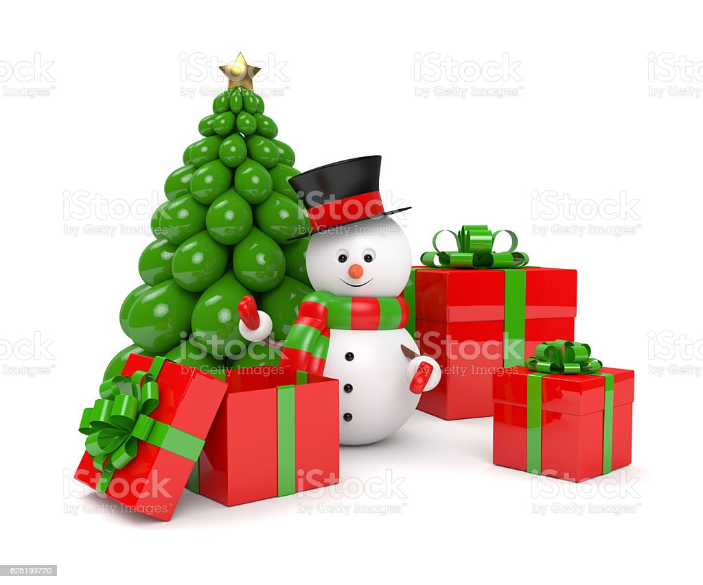 3d rendering of snowman with presents over white stock photo