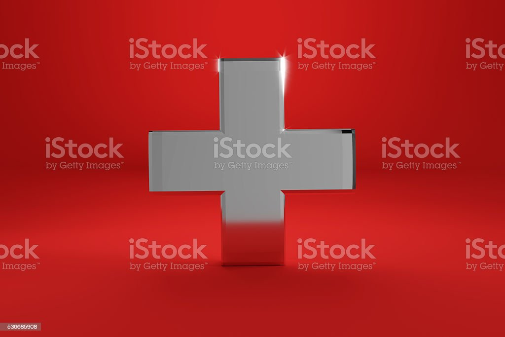 3d rendering of swiss flag in chrome metal style stock photo