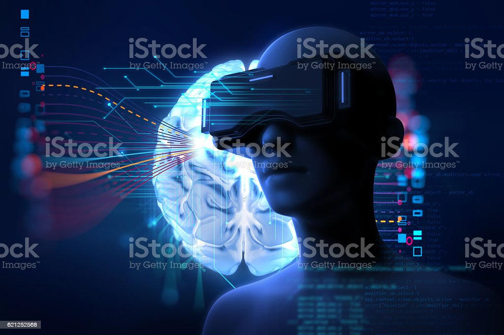3d rendering of virtual human in VR headset stock photo