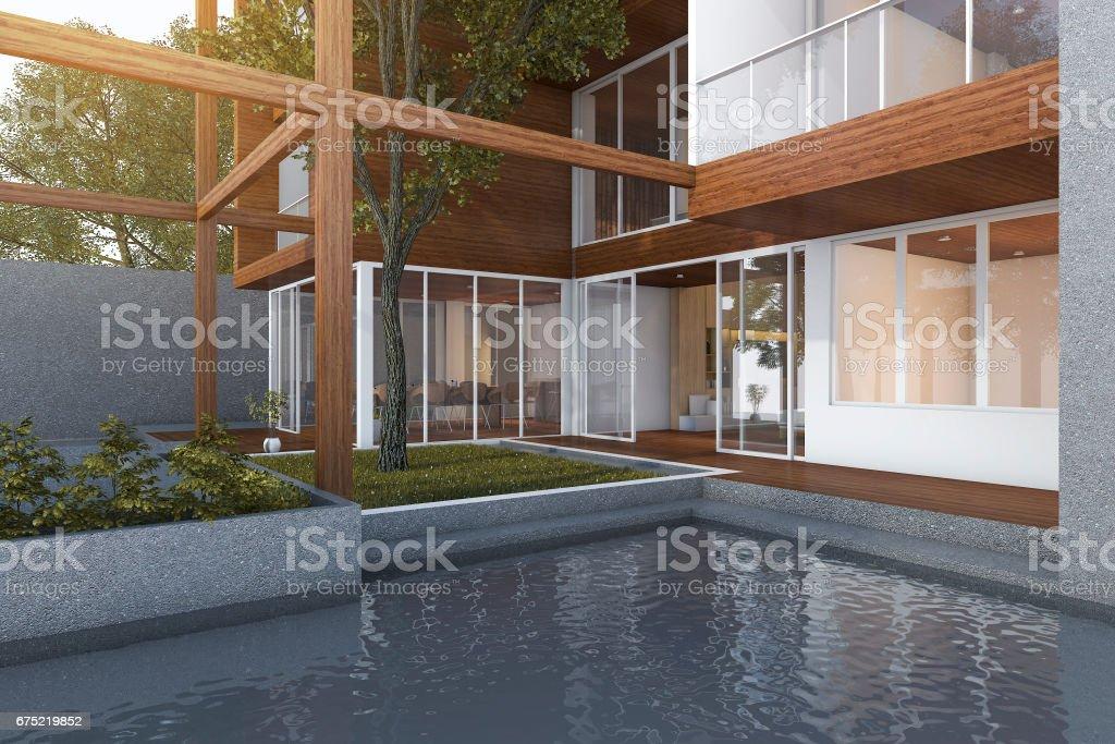3d rendering outdoor pool near wood modern building stock photo