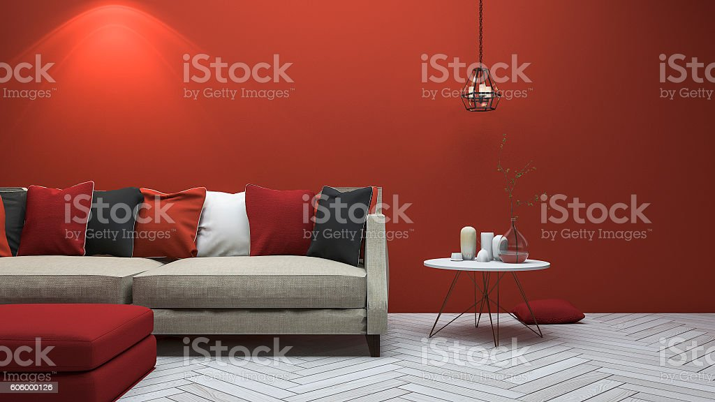 3d rendering red modern style living room with minimal decor stock photo