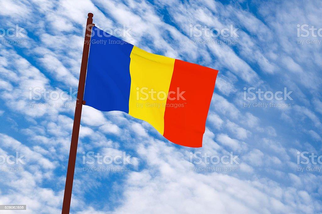 3d rendering Romania flag stock photo