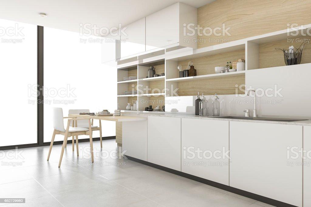 3d rendering scandinavian kitchen with minimal style stock photo