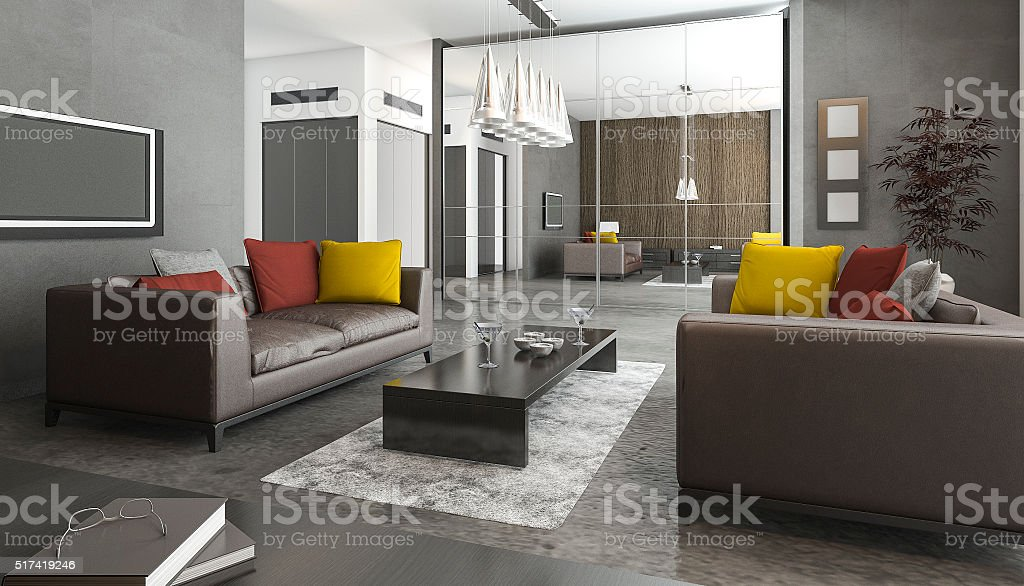 3d rendering  sofa and colorful pillow in loft living room stock photo