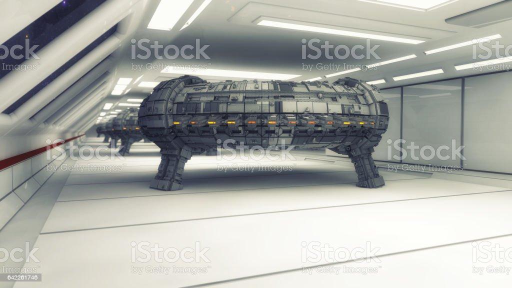 3d rendering. Spaceship and futuristic interior stock photo