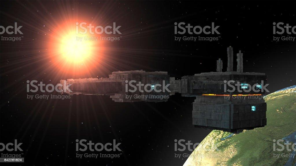 3d rendering. Spaceship UFO stock photo